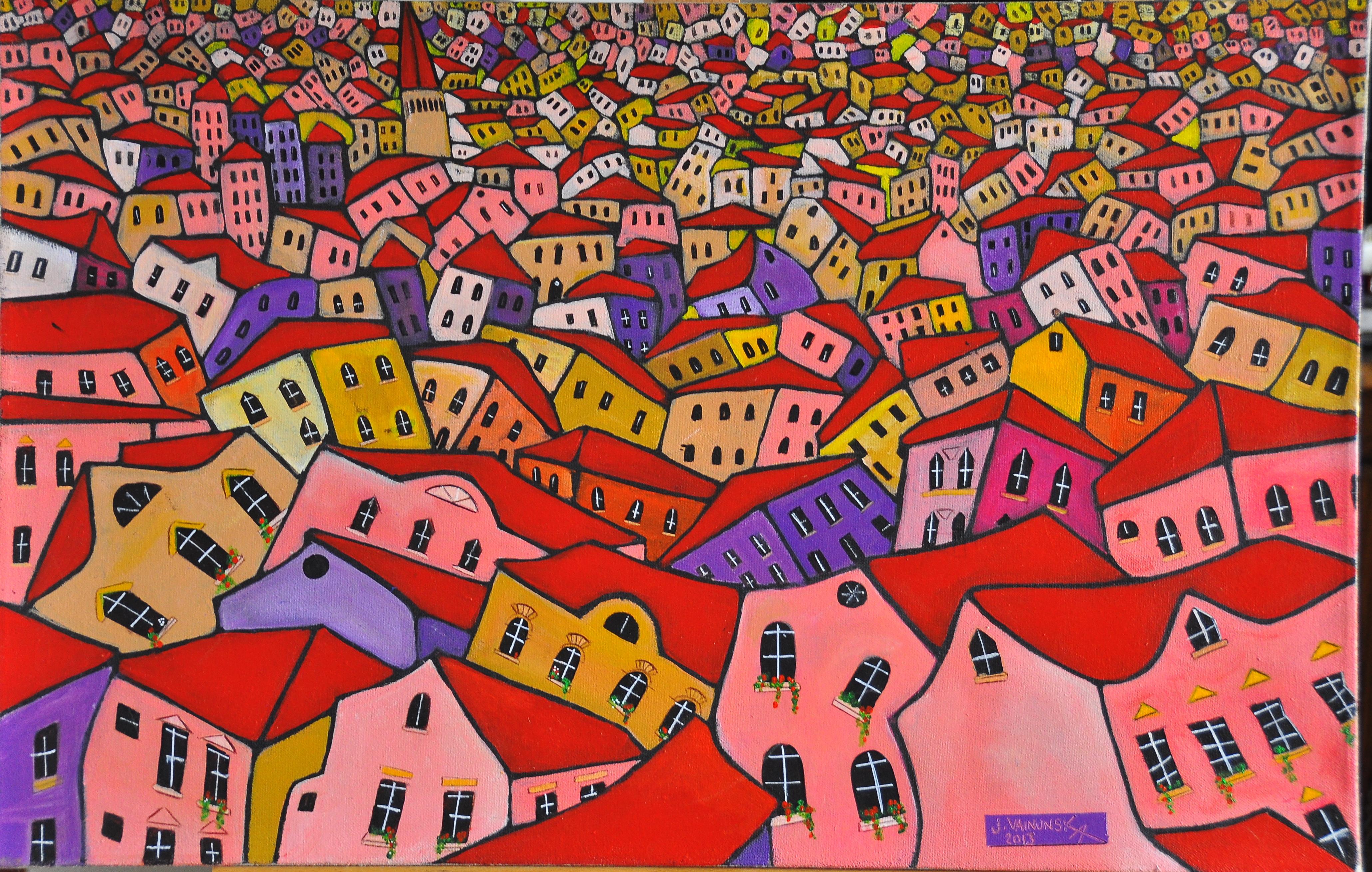 My village , acrylic on canvas, 70 x 45