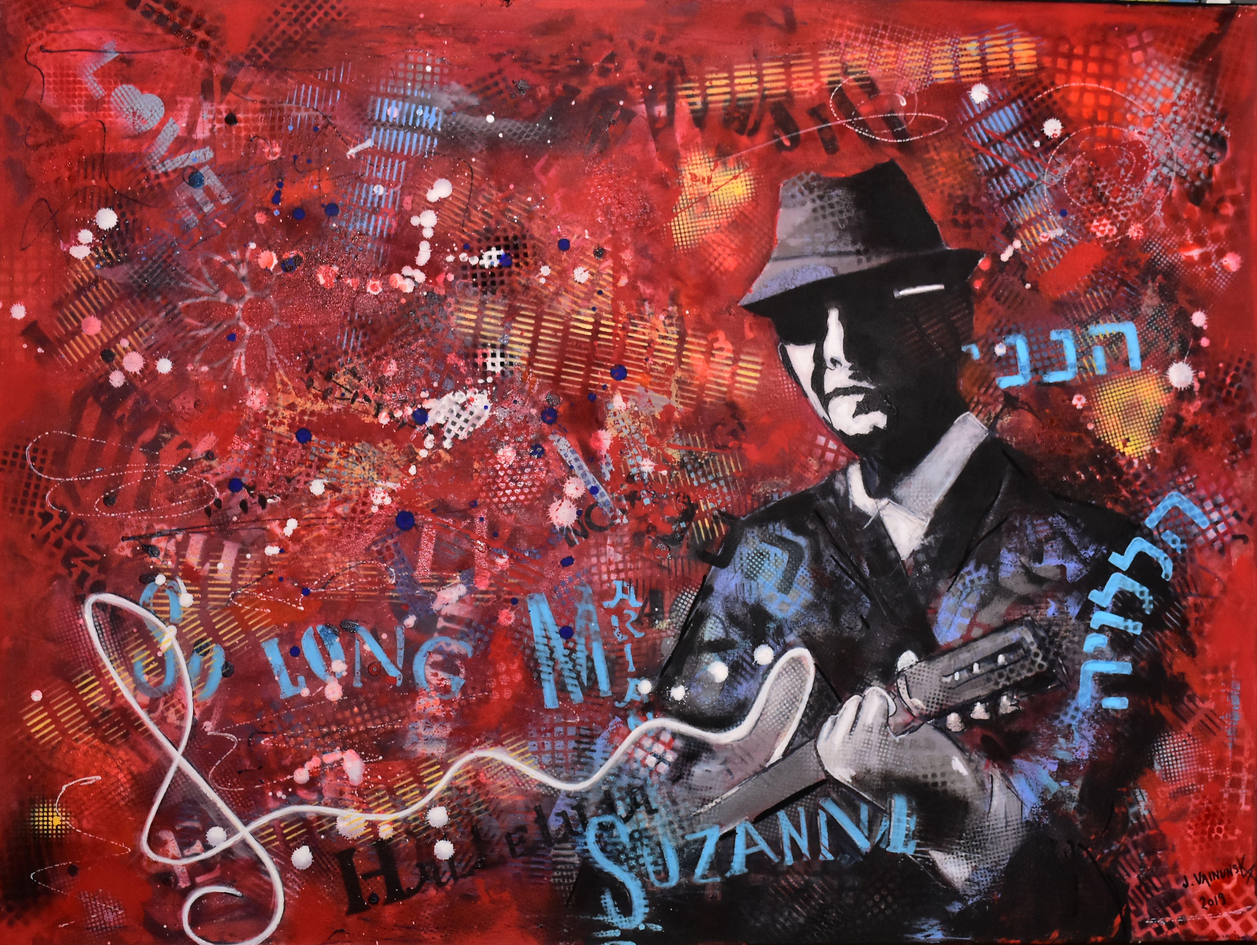 LEONARD COHEN, Acryliv on canvas, 90 x 1