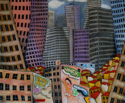 The village in the city, acrylic on canv