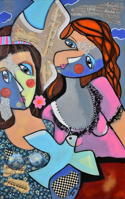 Two girls and two doves, acrylic on canv