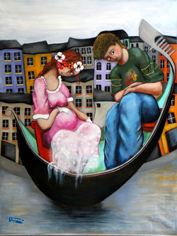 The lovers of venice, acrylic on canvas,
