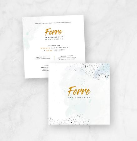 Geboortekaartje Ferre met goudfolie