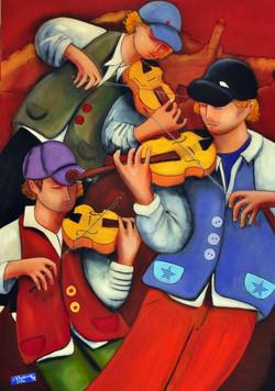 THE THREE VIOLONIST, acrylic on canvas,
