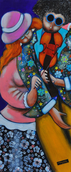 Violon for two Acrylic 0n canvas 40 x90c