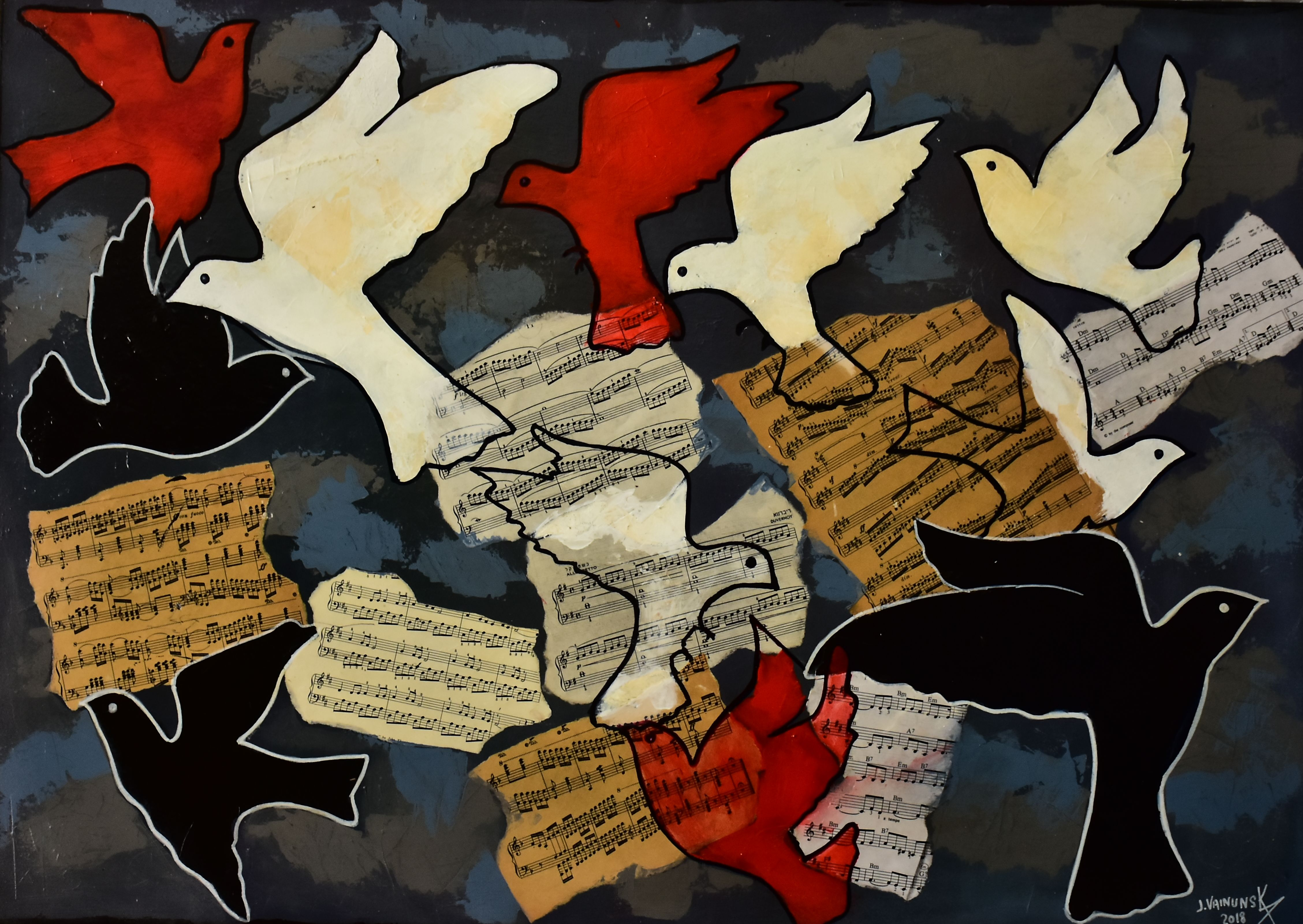 colored doves, ( black background) ,acry