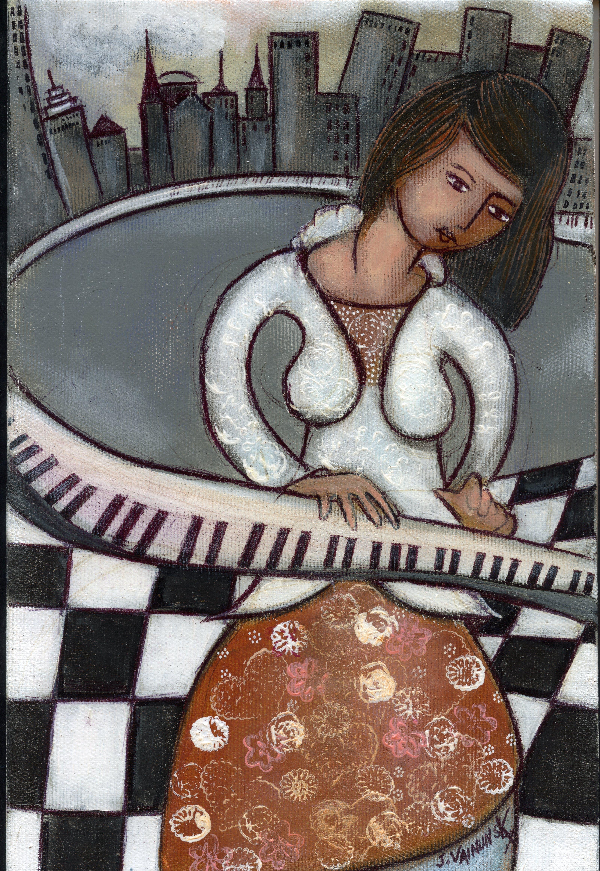 Pianist, acrylic 20x 30 cm,  (15)