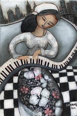 Pianist, acrylic 20x 30 cm,  (16)