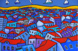 The coastal village acrylic on canvas, 6