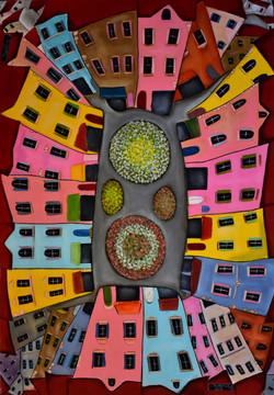 My village, Acrylic on canvas 70 x 100