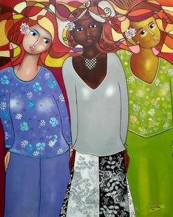 THE THREE LADIES, Acrylic on canvas' 80