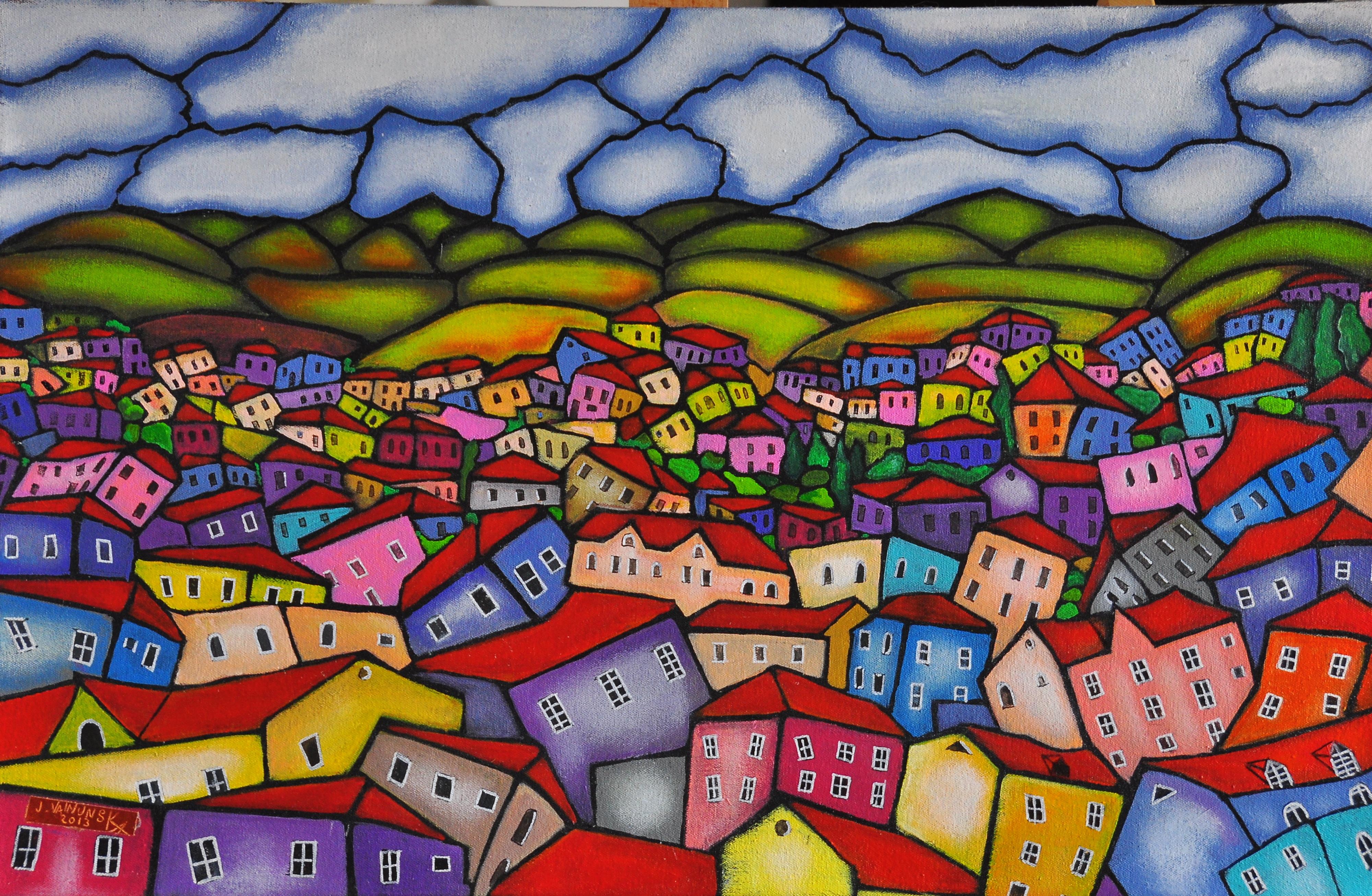 My village, acrylic on canvas, 70 x 45 c