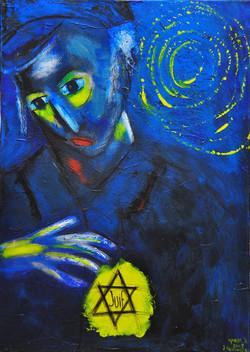 The Yellow Badge, acrylic on canvas, 50