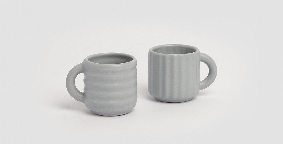 Ripple Espresso Cups Set of 2  Grey
