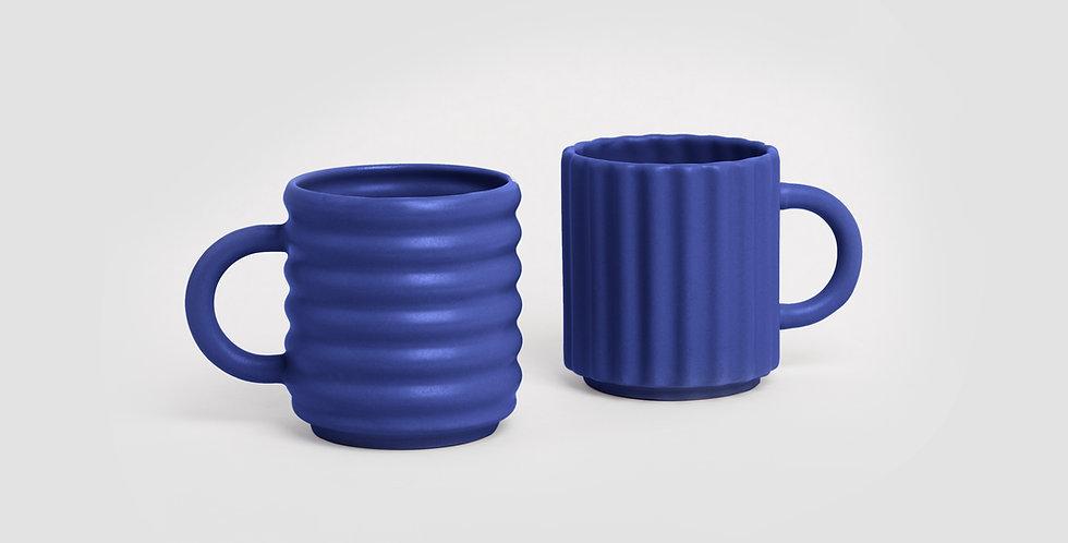 Ripple Mugs Set of 2 Cobalt
