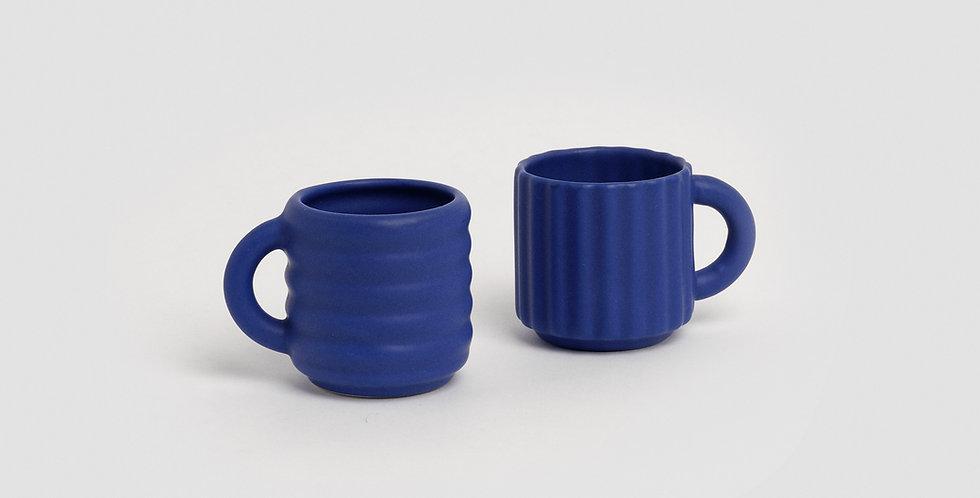 Ripple Espresso Cups Set of 2  Cobalt