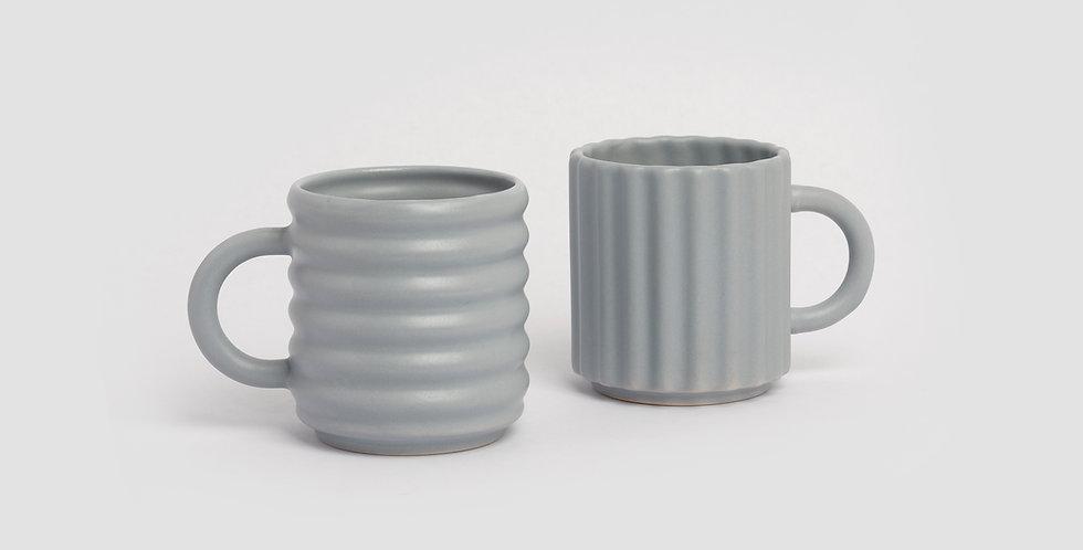 Ripple Mugs Set of 2 Grey