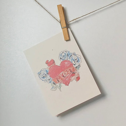 Mom - hart tatoeage