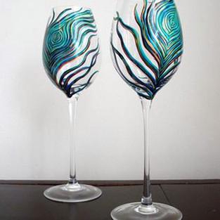 Wine Glass Peacock Feathers.jpg