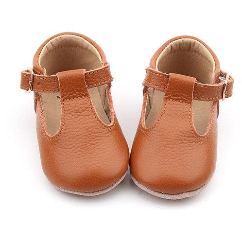Sandaletten in braunem Leder & softer Sohle