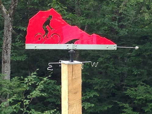 Red Biker Laser Cut Wind Vane