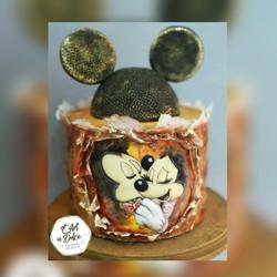 Bolo Quina Reta Mickey e Minnie