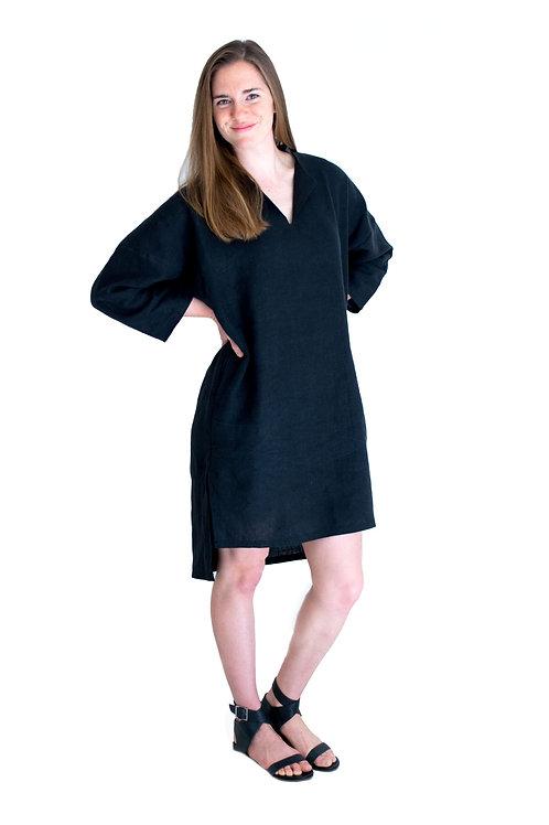 Lola Black Linen Shirtdress