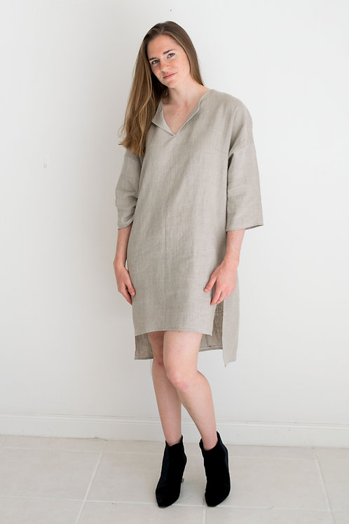 Lola Natural Linen Shirtdress