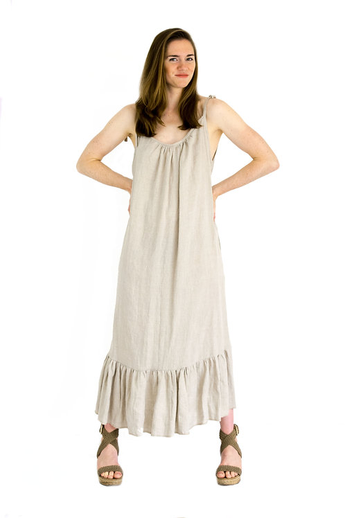 Carmen Natural Linen ScoopBack Ruffle Dress