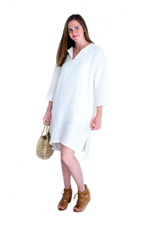 Lola White Linen Shirtdress