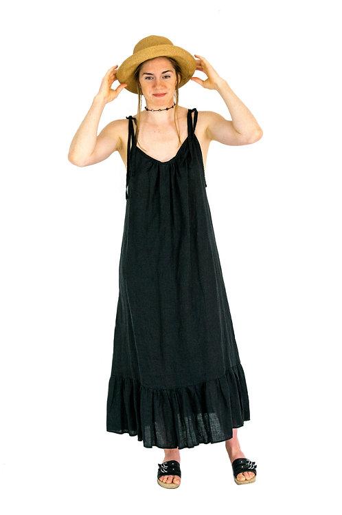 Carmen Black Linen ScoopBack Ruffle Dress