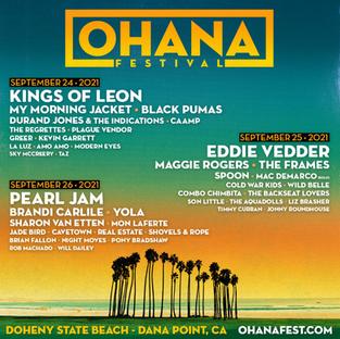 Eddie Vedder: setlist do show no Ohana Festival, California, 2º show - 25/09/2021