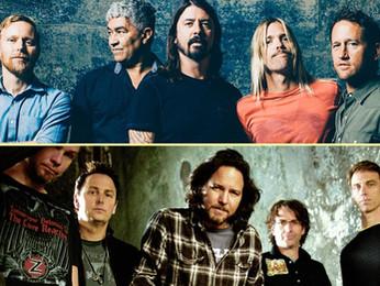 """Foo Fighters: """"vi um dos últimos shows do Pearl Jam e me senti grato por eles terem sobrevivido"""""""