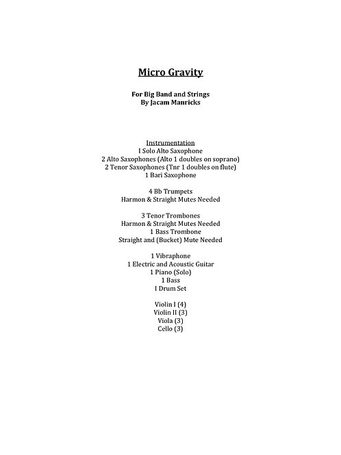 Micro-Gravity- For Big Band and Strings