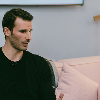 Rebecca interviewing Actor and Model David Schaefer