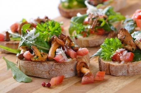 Megabite Canapes, Mushroom Bruchetta