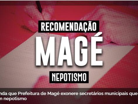 MP recomenda que o prefeito de Magé exonere parentes nomeados secretários