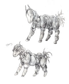 "Sketch concept of stone ponies (""stonies"")"
