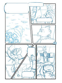 "Layout sketch for page ten of ""THE GALACTICATS"""
