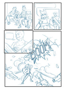 "Layout sketch for page four of ""THE GALACTICATS"""