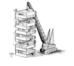 sketch done in ink, exploring the idea of jenga apartments.
