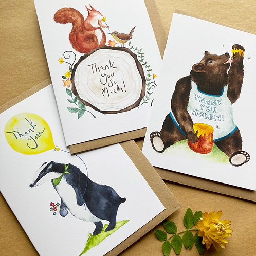 Thank You Cards - Woodland Animal Collection