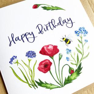 Happy Birthday Card - Poppy Design