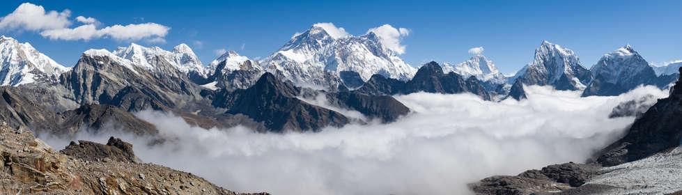 Everest i Lhotse - widok z przełęczy Renjo La