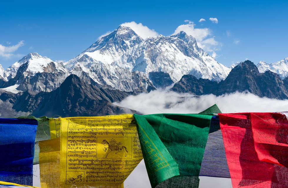 Everest i Lhotse, widok z przełęczy Renjo La