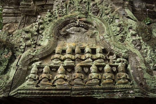 Płaskorzeźby w świątyni Ta Prohm