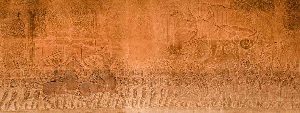 Khmerska Armia, Relief Procesja Surjawarmana, Angkor Wat, Kambodża