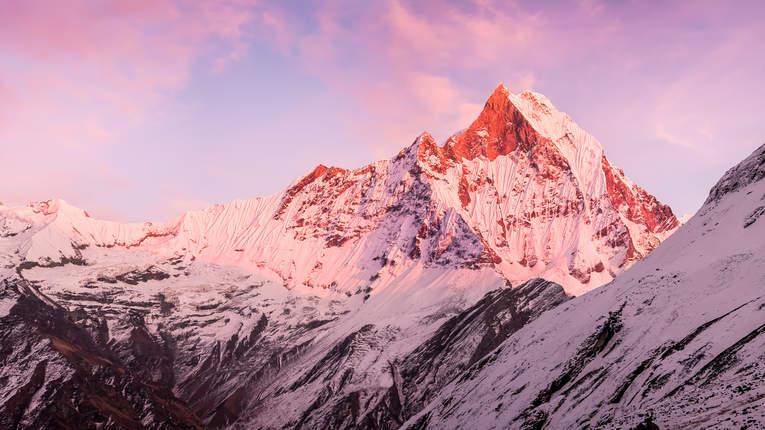 Zachód słońca w Annapurna BC