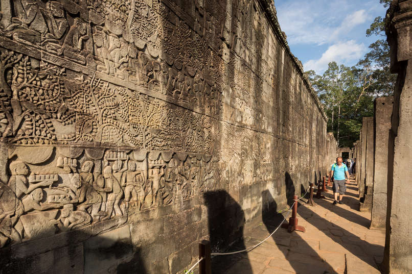 Reliefy w Bayon, Kambodża