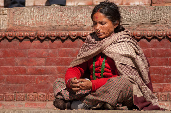 Nepalska Kobieta na Placu Durbar