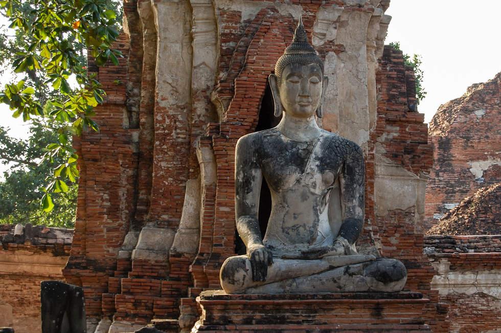 Posąg Buddy, Wat Mahathat, Ayutthaya